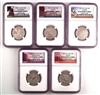 NGC PF69 2012 National Park Clad Proof Quarter 5 Coin Set