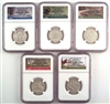 NGC PF69 2015 National Park Clad Proof Quarter 5 Coin Set
