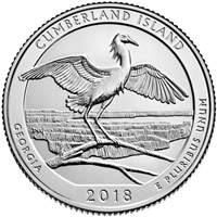 2018 - P Cumberland Island Seashore, GA National Park Quarter Single Coin