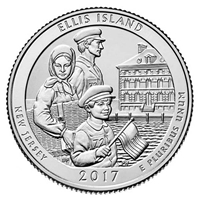 2017 - P Ellis Island National Monument, NJ National Park Quarter 40 Coin Roll