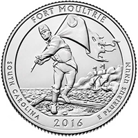 2016 - P Fort Moultrie, SC National Park Quarter 40 Coin Roll