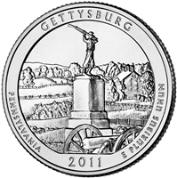 2011 - D Gettysburg - Roll of 40 National Park Quarters