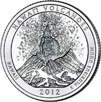 2012 - D Hawaii Volcanoes - Roll of 40 National Park Quarters