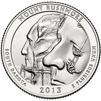 2013 - D Mount Rushmore National Park Quarter Single Coin