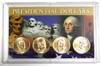 2008 - D Set of 4 Uncirculated Presidential Dollars in Full Color Holder