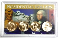 2010 - D Set of 4 Uncirculated Presidential Dollars in Full Color Holder