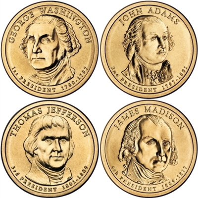 2007 - D Presidential Dollar 4 Coin Set