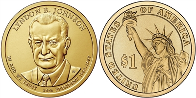 2015 Lyndon B. Johnson Presidential Dollar - 2 Coin P&D Set