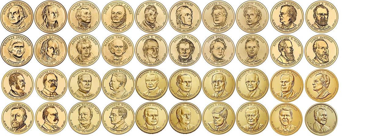 2007 2016 P Presidential Dollars 39 Coin Set
