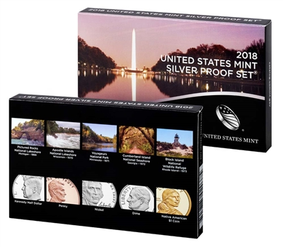 2018 U.S. Mint 10-coin Silver Proof Set - OGP box & COA
