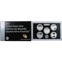 2011 - S Silver Proof National Park Quarter 5-pc. Set With Box/ COA