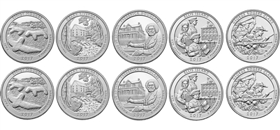 2017 P and D BU National Park Quarter 10 Coin Set