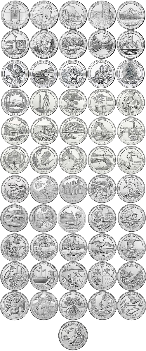 2010 2015 P And D Bu National Park Quarter 60 Coin Set