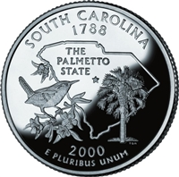 2000 - D South Carolina - Roll of 40 State Quarters