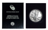 1990 U.S. Silver Eagle in Plastic Air Tite and Blue Gift Box - Gem Brilliant Uncirculated