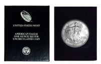 2000 U.S. Silver Eagle in Plastic Air Tite and Blue Gift Box - Gem Brilliant Uncirculated