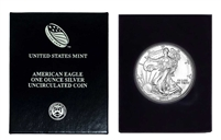 2001 U.S. Silver Eagle in Plastic Air Tite and Blue Gift Box - Gem Brilliant Uncirculated