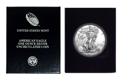 2017 U.S. Silver Eagle in Plastic Air Tite and Blue Gift Box - Gem Brilliant Uncirculated