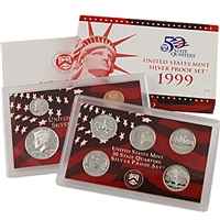 1999 U.S. Mint 9-coin Silver Proof Set - OGP box & COA