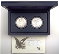 2012 S Silver American Eagle 2 Coin Set 75th Anniversary
