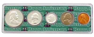 1958 - 60th Anniversary Year Coin Set in Happy Anniversary Holder