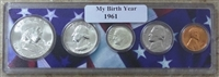 1961 Birth Year Coin Set in American Flag Holder