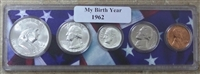 1962 Birth Year Coin Set in American Flag Holder