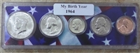 1964 Birth Year Coin Set in American Flag Holder