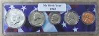 1965 Birth Year Coin Set in American Flag Holder