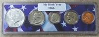 1966 Birth Year Coin Set in American Flag Holder