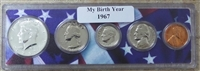 1967 Birth Year Coin Set in American Flag Holder