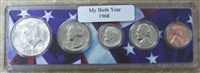 1968 Birth Year Coin Set in American Flag Holder