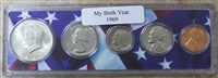 1969 Birth Year Coin Set in American Flag Holder