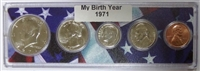 1971 Birth Year Coin Set in American Flag Holder