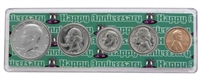 1973 - 45th Anniversary Year Coin Set in Happy Anniversary Holder
