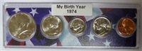 1974 Birth Year Coin Set in American Flag Holder