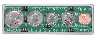1977 - 41st Anniversary Year Coin Set in Happy Anniversary Holder