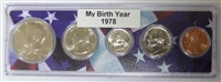1978 Birth Year Coin Set in American Flag Holder