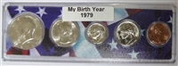 1979 Birth Year Coin Set in American Flag Holder