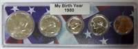 1980 Birth Year Coin Set in American Flag Holder
