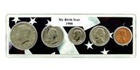 1988 Birth Year Coin Set in American Flag Holder