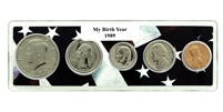 1989 Birth Year Coin Set in American Flag Holder