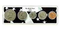 1995 Birth Year Coin Set in American Flag Holder