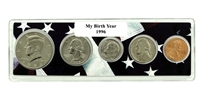 1996 Birth Year Coin Set in American Flag Holder