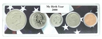 2000 Birth Year Coin Set in American Flag Holder
