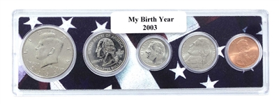 2003 Birth Year Coin Set in American Flag Holder