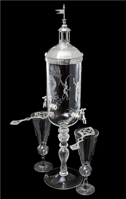 Glass & Sterling Absinthe Fountain Set With Glasses & Spoons