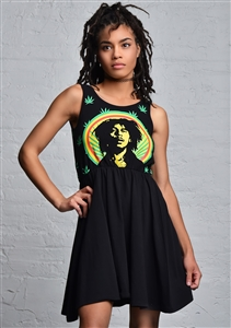 Bob Marley Pot Leaves Tank Dress