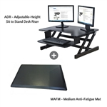 Rocelco ADR+MAFM Adjustable-Height Desk Riser w/ Medium Anti-Fatigue Mat (Black)