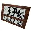 JUMBO LCD ATOMIC WALL CLOCK WITH 6 TIME ZONES (WOOD GRAIN)